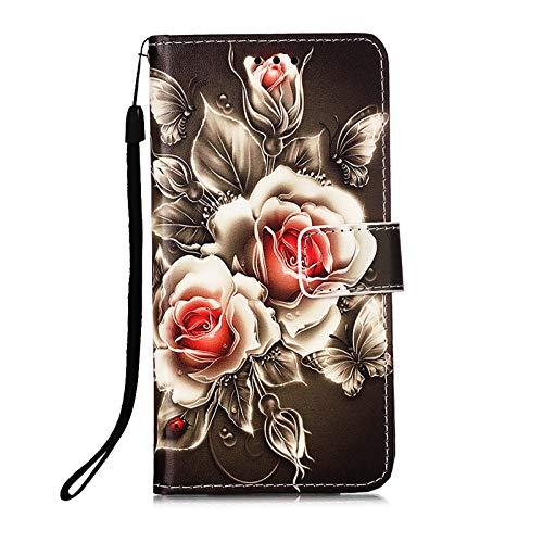 Kompatibel mit Samsung Galaxy S20 FE/S20 Lite 4G 5G Hülle Leder Kartenfach Silikon Animal Motiv Muster Klappbar Flip Hüllen Magnetisch Handyhülle Brieftasche Bumper PU Cover Hülle Mädchen Damen Rose
