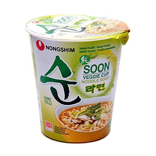 Nong Shim Instantnudeln Soon Veggie Ramyun – Koreanische Gemüse Cup Suppe mild - schnelle Zubereitung – 1 x 67g