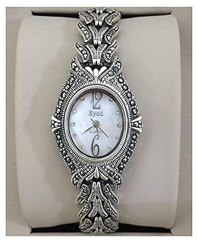 CDPC Reloj de Pulsera para Mujer Reloj de Plata de Ley 925 Reloj Vintage de Cuarzo Reloj gótico Ovalado