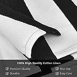 Elloevn Schwarz und Weiß Streifen Moderne Teppiche, Waschbar Fußmatte Outdoor, Shaggy Terrasse Teppich für Wohnzimmer, Küche, Kinderzimmer, 70 * 110 cm - 3