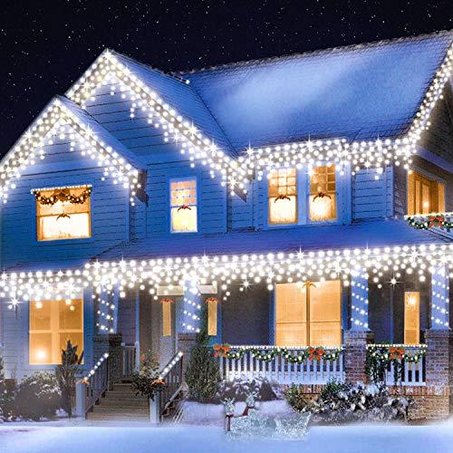 Peccider catena luci pioggia ghiacciata 480LED 12M luce con 8 Modalità di Illuminazione, Luci Decorative Luci Natalizie per Atmosfera Romatica(Bianco Freddo)