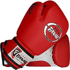Farabi Kids boxing gloves, junior mitts, junior mma kickboxing Sparring gloves 4Oz red