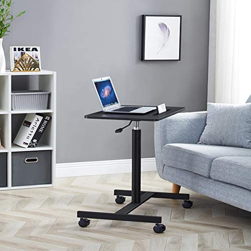 Jlxl Height Adjustable Overbed Table Laptop Cart Computer Table, Multi-Functional Bed Tray Breakfast Industrial Side Table with Wheels (Color : Black)