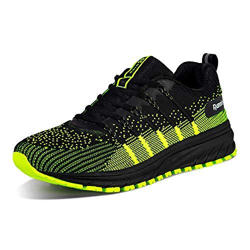 Straßenlaufschuhe Herren Damen Laufschuhe Fitness Turnschuhe Sneakers Air Sportschuhe Running Shoes(03-Schwarz/Grün,43)