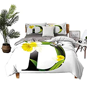 DRAGON VINES 4pcs Bedding Set Silk Sheets Bed Sheets King Black D Silhouette Entangled with Growing Daffodils Artistic with Flowers Yellow Green Black Man and Woman W85 xL85