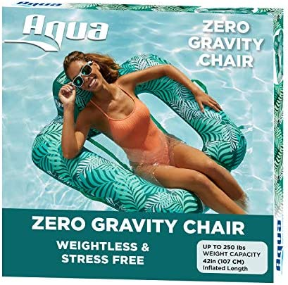 AQUA Zero Gravity Pool Chair Lounge Inflatable Pool Chair Adult Pool Float Heavy Duty Teal Fern product image