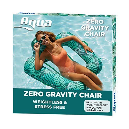 Aqua Zero Gravity Pool Chair Lounge, Inflatable Pool Chair, Adult Pool Float, Heavy Duty, Teal Fern
