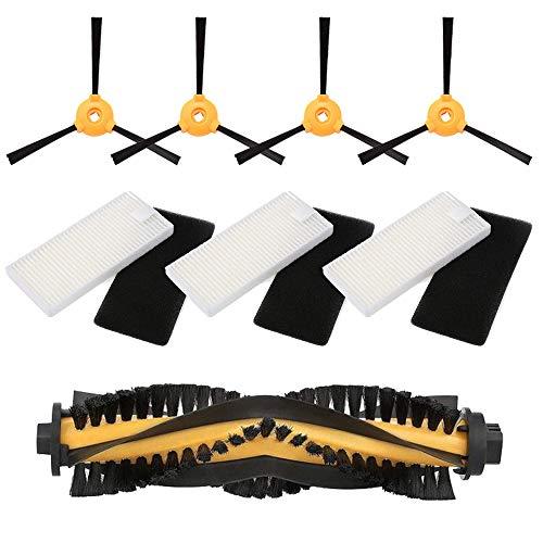 MIRTUX Pack Essentiel de Recharges pour Conga Excellence et 990 Excellence Kit d'accessoires de rechange pour robots aspirateur Conga Ensemble de 1 rouleau central, 4 brosses latérales et 3 filtres