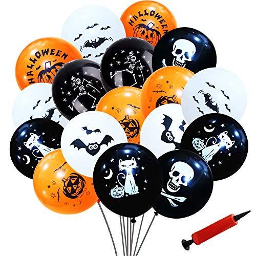 Decoraciones con globos de Halloween, Simuer 100 piezas 12 '' Globos de ltex con forma de murcilago esqueleto de calabaza con bomba de aire para suministros para fiestas de Halloween