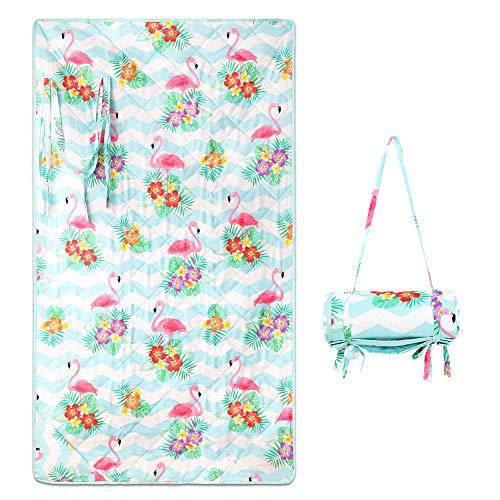 Winthome Fashion Strandmatte, Sanddicht, wasserdicht, tragbare Picknickdecke für Outdoor Reisen Camping Wandern (Flamingo)