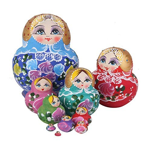 xlpace 10pcs/ Set Russian Matryoshka Wishing Dolls Nesting Wooden Hand Printed Home Decor Craft Doll Kids Gifts 5.70''