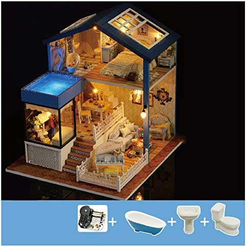 Syltl Diy Dollhouse Kit Duplex Villa Led Lights Music Box Handmade Dollhouse Blu Ray Swimming Pool Birthday Gift Wooden Dolls House A Home Kitchen