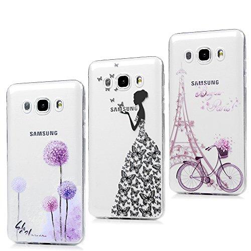 3x Cover per Samsung Galaxy J5 2016, J510 Custodia Silicone Ultra Sottile Antiscivolo Antiurto Slim Bumper Case per Samsung Galaxy J5(2016)/J510 - Ragazza + Bici + Tarassaco