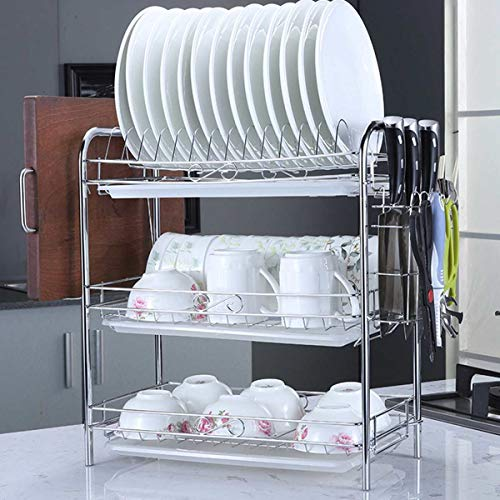 PPuujia Geschirr-Abtropfgestell, 2/3 Etagen, Geschirr-Abtropfgestell, Korb, plattiertes Eisen, ideal für die Küche, Spülbecken, Abtropfgestell, Organizer, schwarz (Farbe: C 3 Etagen)