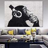 wojinbao Sin Marco Blanco y Negro DJ Monkey Lienzo Pintura Arte de la Pared Música Animal Imágenes Decorativas Cuadros Decoración para el hogar para la Sala de Estar Carteles
