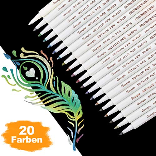 DealKits Premium Metallic Marker Stifte, Satz von 20 sortierten Farben Metallischen Stift Pens für Kartenherstellung DIY Fotoalbum Gästebuch Hochzeit Papier Glas Kunststoff Stein - Feiner Spitze(1MM)