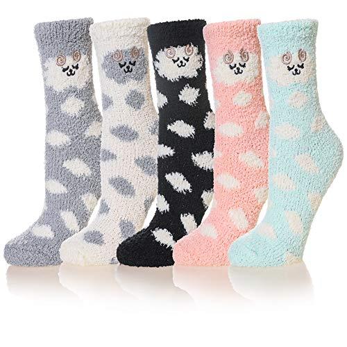 WENER Damen 5 Paar super weiche Microfaser Fuzzy Winter Warm Hausschuhe Home Socken - mehrfarbig - Einheitsgröße