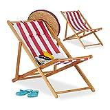 Relaxdays, Rojo, Pack 2 Tumbonas Plegables Jardín y Playa con Reposacabezas, Bambú, 79-66 x 55 x 90 cm
