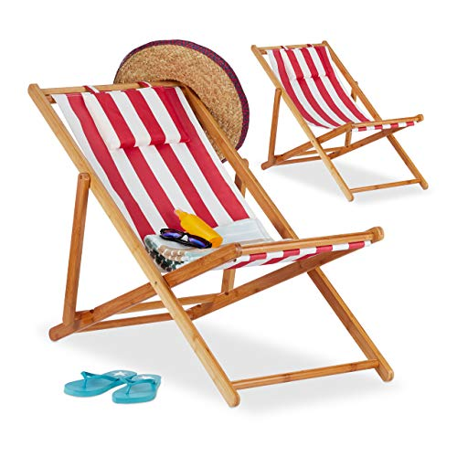 Relaxdays Deck Chair Set of 2