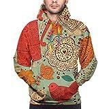 Rockboy Sudadera con Capucha de Hombre Vintage Background with Coffee Pattern, L Sweatshirt