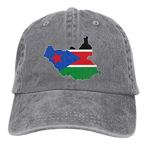 Ahdyr Gorra de béisbol Unisex Gorra de Mezclilla teñida en Hilo Mapa de la Bandera de Sudán del Sur Gorra Ajustable de Hip Hop Snapback-Ash
