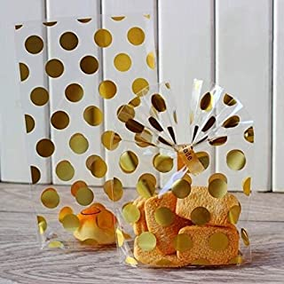 200 Pack Gold Polka Dot Candy Bags with Golden twist ties, 8.1 x 5 x 1.8 inch Clear Plastic Treat Bags for Cookie Candy Snack Wrapping Wedding Gift Party Favor