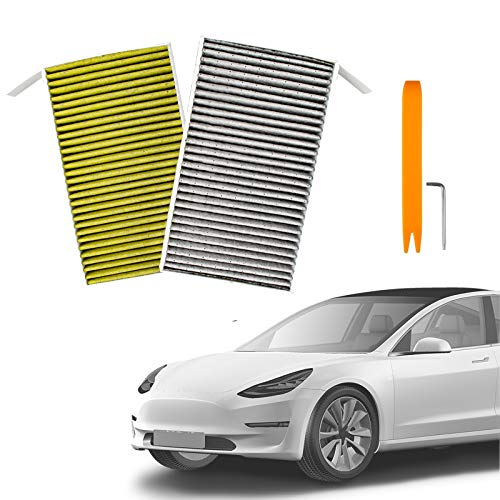 TZUTOGETHER Tesla Model 3 Air Filter HEPA Replacements 2 Pack with pm2.5 Activated Carbon- Effectively Filter Impurities Suitable for All Tesla Model 3 from 2017-2021 (Regular Style)