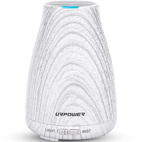 URPOWER 2nd Version Essential Oil Diffuser, Aroma Essential Oil Cool Mist Humidifier with Adjustable Mist Mode,Waterless Auto Shut-off and 7 Color LED Lights Diffuser Essential Oils for Home Office