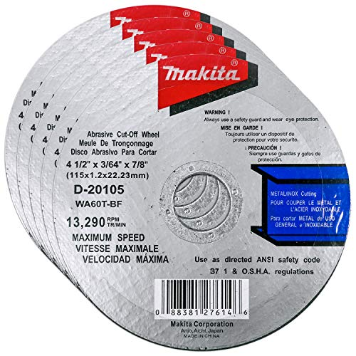 """Makita 5 Pack - 4.5"""" Cut Off Wheels For 4.5"""" Grinders - Aggressive Cutting For Metal & Stainless Steel/INOX - 4-1/2"""" x .045"""" x 7/8-Inch"""
