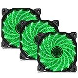 Novonest 120mm PCケースファン 静音タイプ 25mm厚 (緑 3本 15LED)【15G3-3】