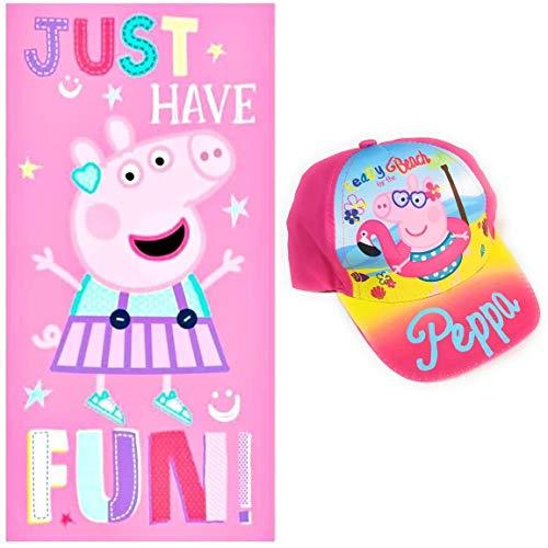 Toalla Peppa Pig de Microfibra para Playa o Piscina + Gorra Peppa Pig para Niñas (Fucsia)