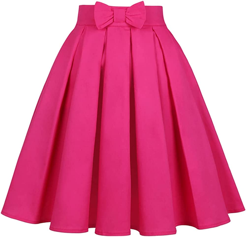 NP Color Dark Pink Rose Red Skirt Bow Women Skirts