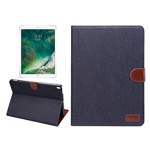 Un known For iPad Pro 10.5 inch Denim Cloth Texture Surface Horizontal Flip Leather Protective Case with Holder & Card Slots & Wallet & Sleep Accessory Compatible Replacement (Color : Black)