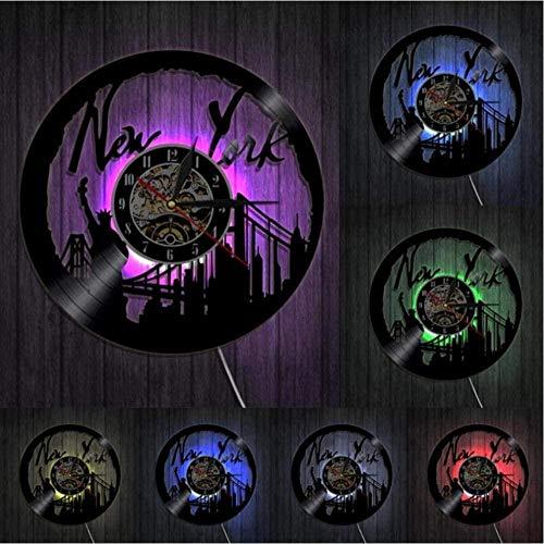 Reloj de pared de Nueva York Puente de Brooklyn de Nueva York colgante de pared arte retro disco de vinilo reloj de pared paisaje urbano de Estados Unidos regalo de viaje decoración reloj de v