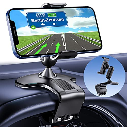 Car Phone Holder Mount 360 Degree Rotation Dashboard Cell Phone Holder for Car Clip Mount Stand Suitable for 4 to 7 inch Smartphones (Black)