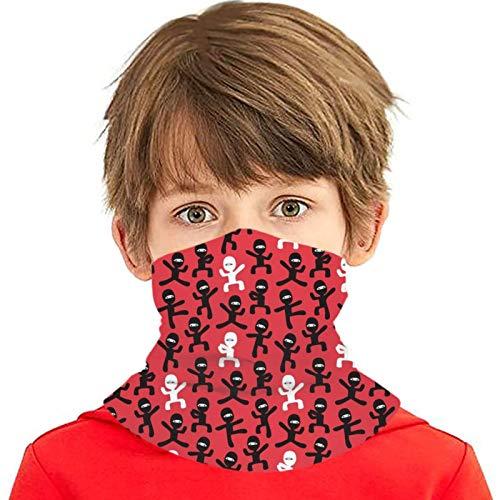Ninja negro y blanco en rojo niños cubierta bufanda pasamontañas viento protección UV