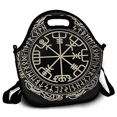 Lunch Bags Insulated for Women Men Black Celtic Viking Design Magical Runic Compass Vegvisir In The Circle Of Norse Runes And Dragons Tattoo Neoprene Tote Thermal Reusable Durable Boxes