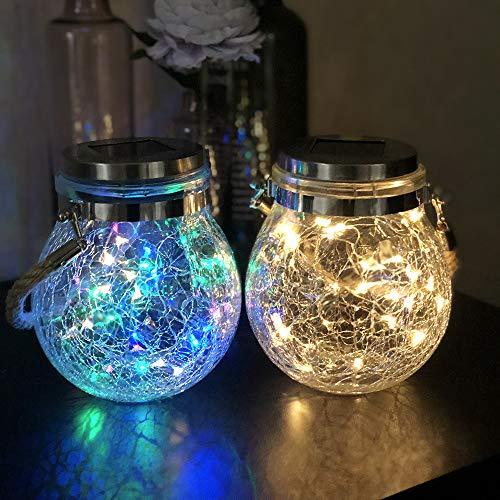 Mr.do® Solarlampen für Außen Crack Design Glas Ball Solar Garten Licht 30 LED Wasserdichte Hängeleuchten für Patio Partei Weihnachten Hochzeitsdekoration, Warmes Licht und Farblicht