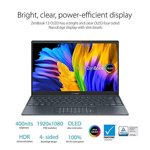"ASUS ZenBook 13 Ultra-Slim Laptop, 13.3"" OLED FHD NanoEdge Bezel Display, Intel Core i7-1165G7, 16GB LPDDR4X RAM, 512GB SSD, NumberPad, Thunderbolt 4, Wi-Fi 6, Windows 10 Pro, Pine Grey, UX325EA-XS74"