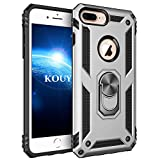 KOUYI Cover iPhone SE 2020,Custodia 360° Girevole Regolabile Ring Armor Bumper TPU Case Magnetica Supporto Silicone Custodie per Apple iPhone SE 2020 (4,7 Pollici) (Argento)