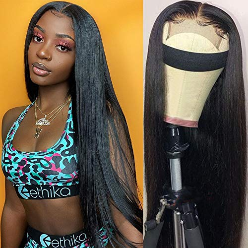 MYLOCKME 24 Inch Glueless Straight Hair Lace Front Closure Wigs 4x4 Brazilian Virgin Human Hair Straight Frontal Lace Wigs with Baby Hair 150% Density Pre Plucked with Elastic Bands Natural Hairline
