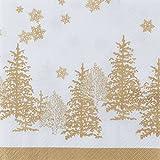 20 tovaglioli natalizi con motivo ad alberi e fiocchi di neve color oro, 33 x 33 cm