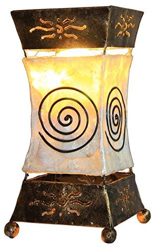 Deko-Leuchte XENIA Cream, Tischlampe aus Metall und Resin, Stimmungsleuchte