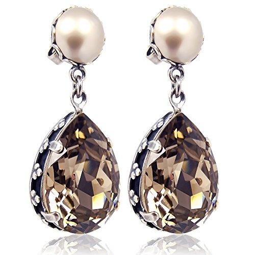 Jugendstil Ohrringe mit Kristallen von Swarovski® Silber Greige NOBEL SCHMUCK
