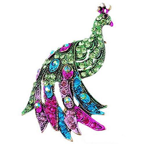 AILUOR Damen Vintage Cocky Pfau-Vogel-Brosche, Eleganter Charme Bunten Österreichische Rhinestone-Kristalltier Breastpin Für Hochzeit/Bankett/Bouquet grün Einstellbar