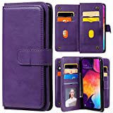 XYX Wallet Case for LG K22/LG K22 Plus, Solid Color PU Leather Flip Wallet Purse Case Kickstand with 10 Card Slots, Purple