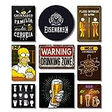 Kit Placas Decorativas Bebidas Mdf - 9 Placas