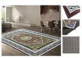 COMERCIAL CANDELA FELPUDOS Y ALFOMBRAS Alfombra Poliéster Antideslizante Diseño Mandalas Relajante Color (Mandala Verde, 160_x_230 CM)