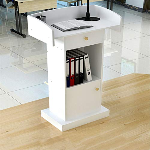 YzDnF Mobili Commerciali Stand-up Pavimento Portatile Leggio del podio Podium Teacher Speaker Lecture Aula Presentation Stand Stand up Lectorn. (Color : White, Size : 42x60x124cm)