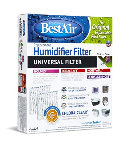 BestAir ALL-1-PDQ-5 Universal Extended Life Humidifier Replacement Paper Wick Filter, For Duracraft Humidifiers, 7.2